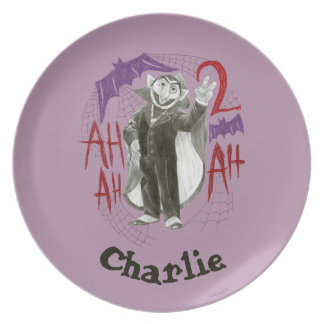 Count von Count B&W Sketch | Add Your Name Dinner Plate