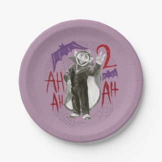 Count von Count B&W Sketch Drawing 7 Inch Paper Plate
