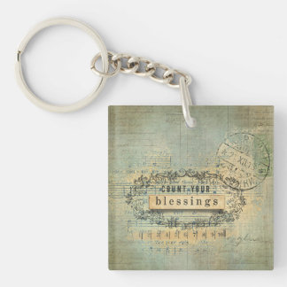 Count Your Blessing Collage Wordart Single-Sided Square Acrylic Key Ring