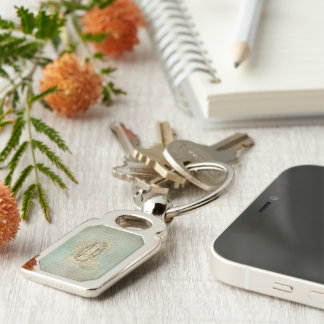 Count Your Blessing Collage Wordart Silver-Colored Rectangle Key Ring
