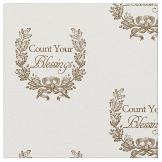 count your blessings fabric, vintage design fabric