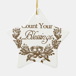 count your blessings vintage typography ceramic ornament