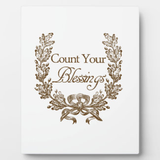 count your blessings vintage typography plaque