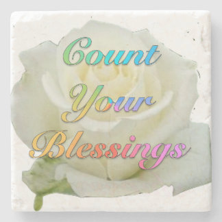 """""""Count Your Blessings"""" White Rose Marble Coaster"""