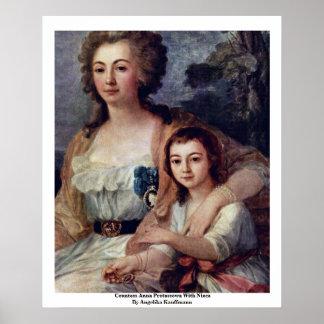 Countess Anna Protassowa With Niece Print