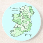 Counties of Ireland Map Beverage Coasters