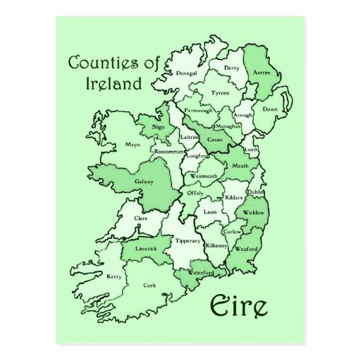 Counties of Ireland Map Post Card