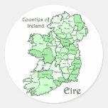 Counties of Ireland Map Round Sticker