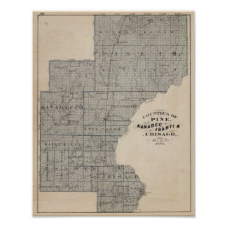 Counties of Pine, Kanabec, Minnesota Poster