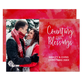 Counting our Blessings Photo Watercolor Holiday Card