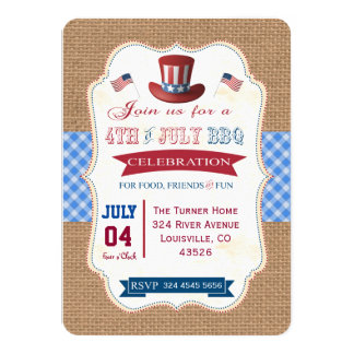 Country 4TH OF JULY BBQ Burlap Red Gingham Invite