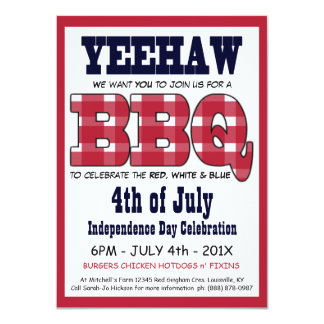 Country 4th of July Picnic BBQ 11 Cm X 16 Cm Invitation Card