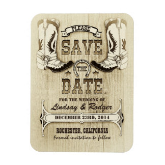 Country and Western Cowboy Boots Save the Date Rectangular Photo Magnet