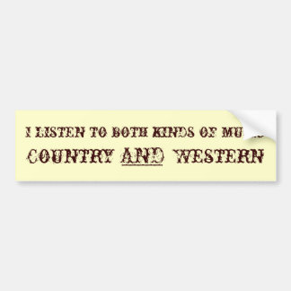 Country and Western Music Bumper Sticker
