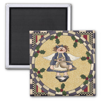 Country Angel and Teddy Bear Christmas Magnet