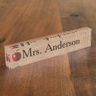 Country Apple Teacher Nameplate for desk