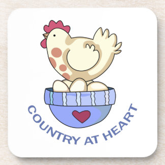 COUNTRY AT HEART HEN DRINK COASTER