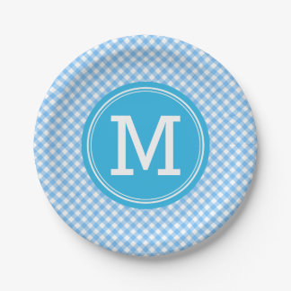 Country Baby Blue Gingham Personalize Monogram 7 Inch Paper Plate