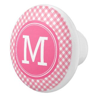 Country Baby Pink Gingham Personalize Monogram Ceramic Knob