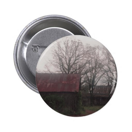 Country Barn Shed Winter Scene Autumn Americana Pinback Button