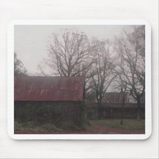 Country Barn Shed Winter Scene Autumn Americana Mouse Pad