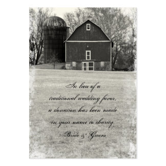Country Barn Wedding Charity Favor Pack Of Chubby Business Cards