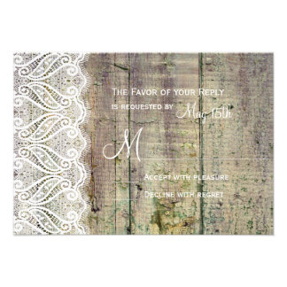 Country Barn Wood and Lace Wedding RSVP Cards