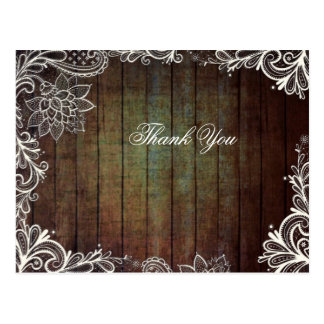country barn wood lace rustic wedding thank you postcard
