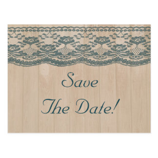 Country Barn Wood & Lace Wedding Save The Date Postcard