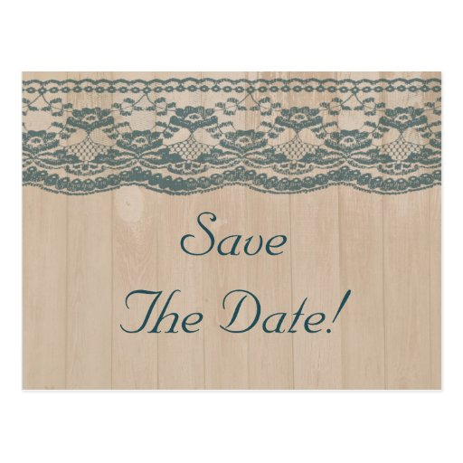 Country Barn Wood & Lace Wedding Save The Date Post Card