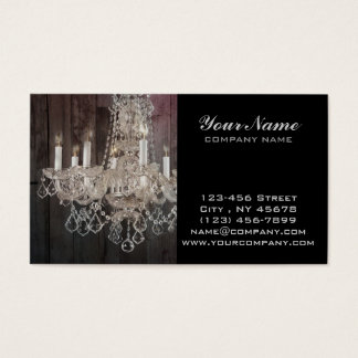Country barn wood Parisian vintage chandelier Business Card