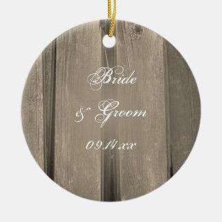 Country Barn Wood Wedding Bridesmaid Thank You Ceramic Ornament
