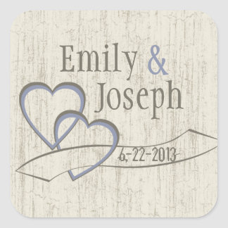 Country Barn Wood Wedding Hearts Square Sticker