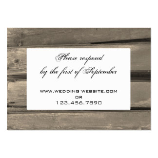 Country Barn Wood Wedding RSVP Response Card Large Business Cards (Pack Of 100)
