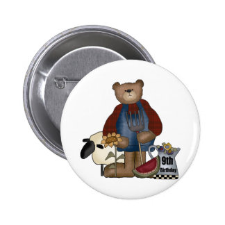 Country Bear 9th Birthday Gifts Pinback Button
