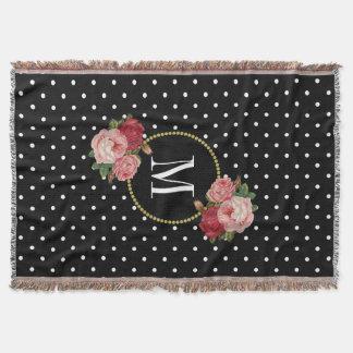 Country Black Vintage Floral Polka Dots Monogram Throw Blanket
