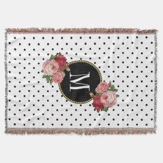 Country Black White Dots Vintage Floral Monogram Throw Blanket