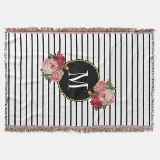 Country Black White Stripe Vintage Floral Monogram Throw Blanket