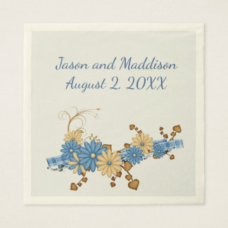 Country Blue, Burlap and Daisies Paper Napkin