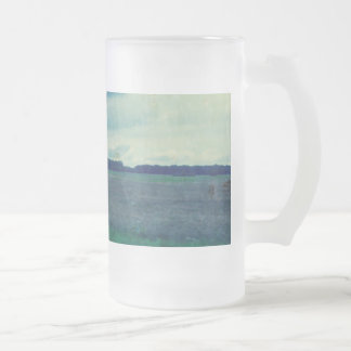 Country Blue Field Frosted Glass Beer Mug