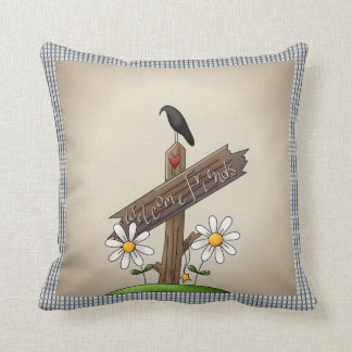 Country Blue Gingham Welcome Friends Cushion