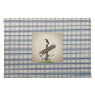Country Blue Gingham Welcome Friends Place Mats