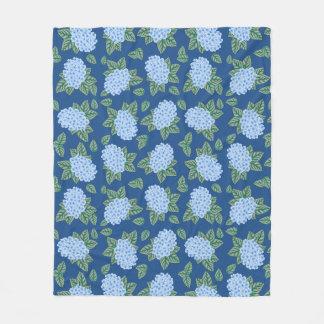 Country Blue Hydrangeas Fleece Blanket