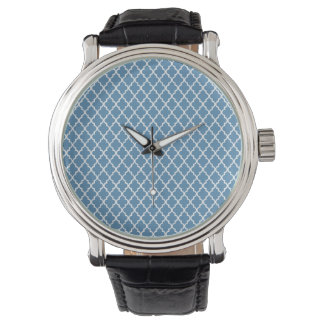 Country Blue Trellis Preppy Quatrefoil Moroccan Wristwatch