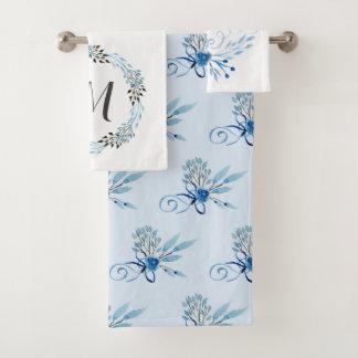 Country Blue Watercolor Floral Bath Towel Set
