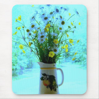 Country Blue Wildflowers Mouse Pad