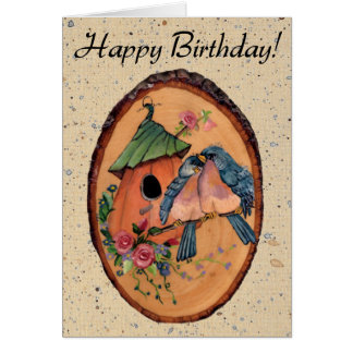 Country Bluebirds Birthday Card