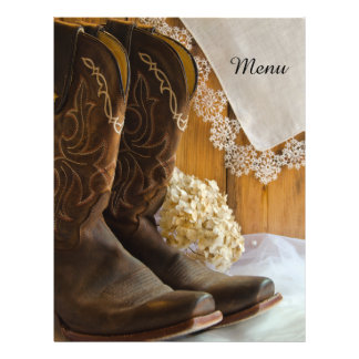 Country Boots and Lace Wedding Menu 21.5 Cm X 28 Cm Flyer