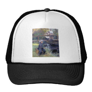 Country Boy Fishing painting Mesh Hats