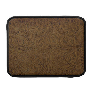 Country Brown Tooled Leather Look MacBook Sleeve